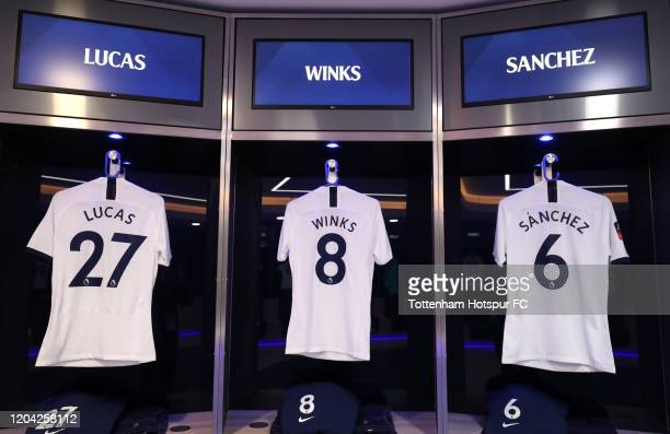The shirts of Lucas Moura, Harry Winks and Davinson Sanchez of Tottenham Hotspur are displayed inside the Tottenham Hotspur dressing room prior to...