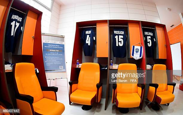 The shirts of Marko Dordevic Mario Bilen Ivan Vicelich and Angel Berlanga of Auckland City FC are seen in the locker room prior to the FIFA Club...
