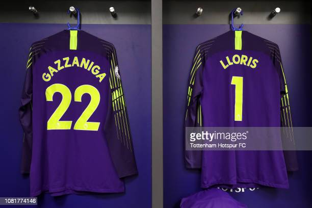 The shirts of Paulo Gazzaniga and Hugo Lloris of Tottenham Hotspur are seen inside the Tottenham Hotspur dessing room prior to the Premier League...