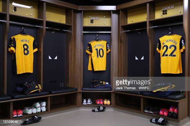 The shirts of Ruben Neves, Daniel Podence and Nelson Semedo are displayed inside the Wolverhampton Wanderers dressing room ahead of the Premier...