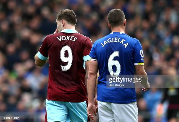 The shirts of Sam Vokes of Burnley and Phil Jagielka of Everton for the number '96' during the Premier League match between Everton and Burnley at...