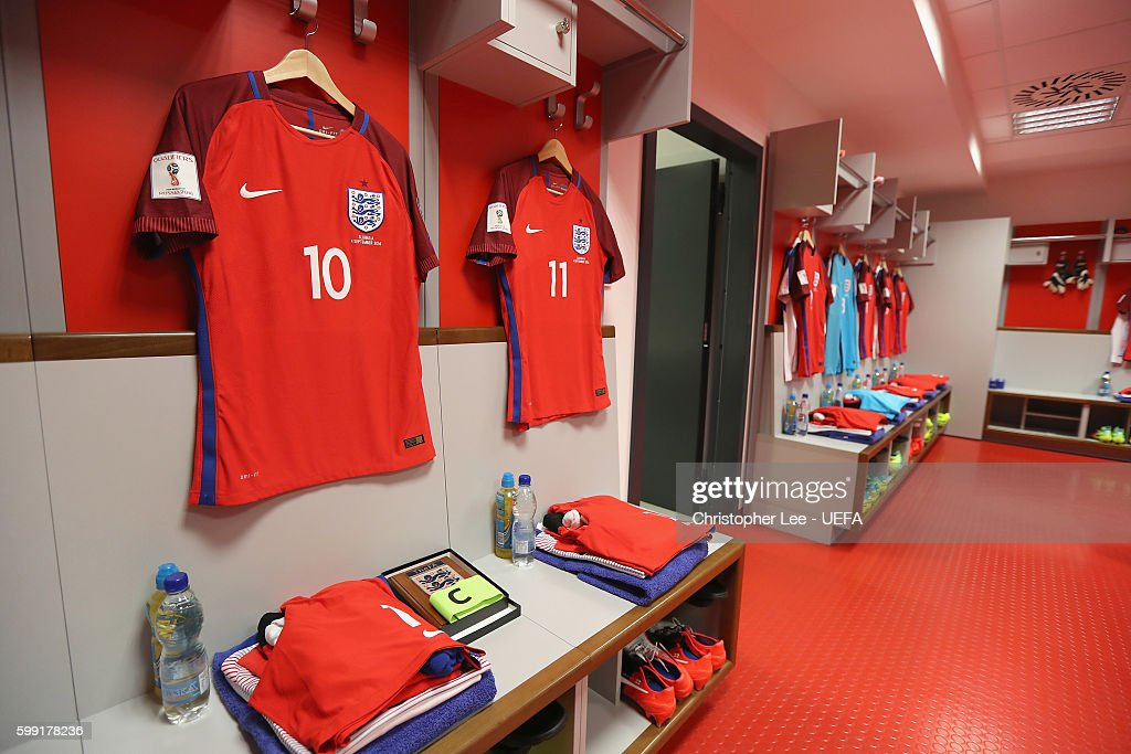 The Shirts of the England players are seen hanging up in their changing room during the 2018 FIFA World Cup Qualifier Group F match between Slovakia and England at City Arena on September 4, 2016 in Trnava, Slovakia.