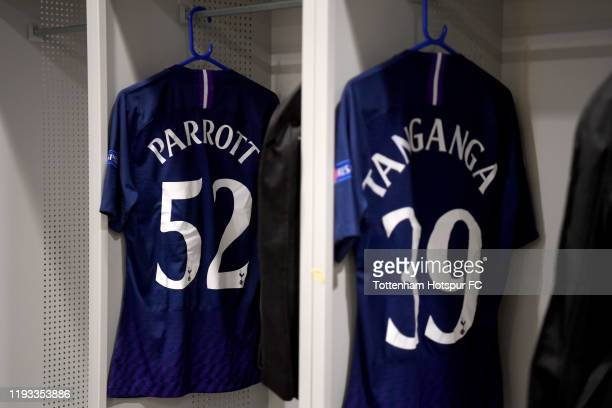 The shirts of Troy Parrott and Japhet Tanganga are seen in Tottenham Hotspur dressing room prior to during the UEFA Champions League group B match...
