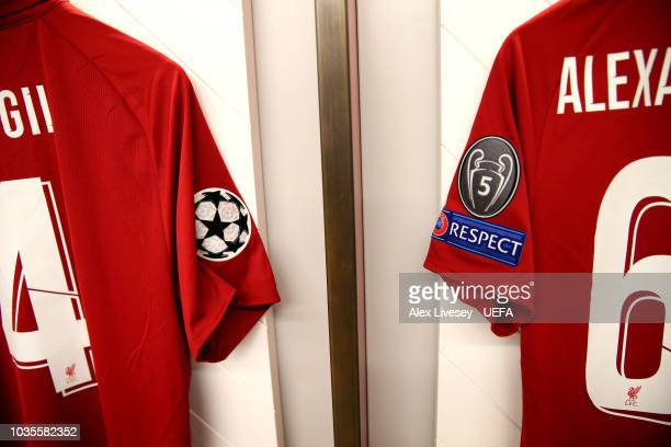 The shirts of Virgil van Dijk and Trent AlexanderArnold of Liverpool hang in the dressing room prior to the Group C match of the UEFA Champions...