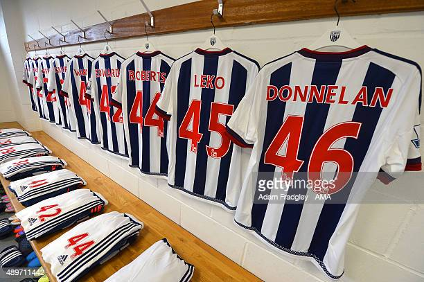 The shirts of West Bromwich Albion U21 players hang in the dressing room Joe Ward Kyle Edwards Tyler Roberts Jonathan Leko and Shaun Donnelan before...