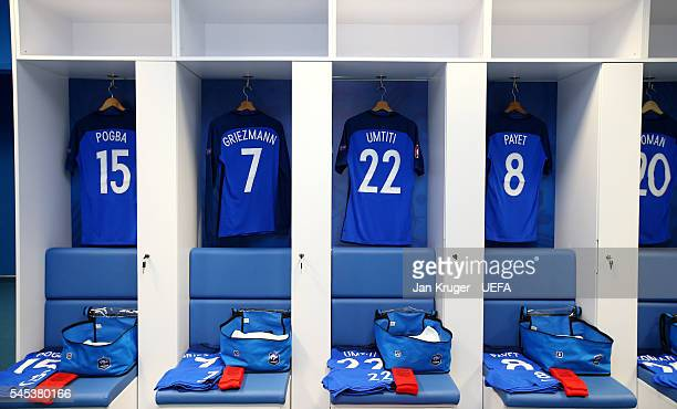 The shirts worn by France players are hung in the dressing room prior to the UEFA EURO semi final match between Germany and France at Stade Velodrome...