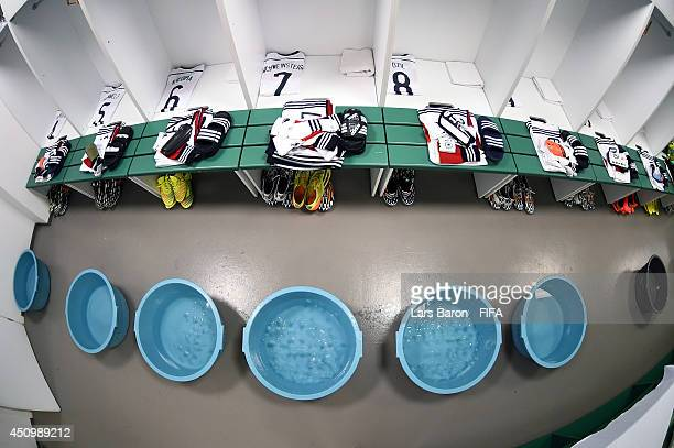 The shirts worn by Germany players are displayed in the dressing room prior to the 2014 FIFA World Cup Brazil Group G match between Germany and Ghana...