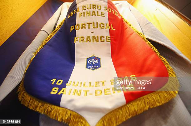 The shirts worn by Hugo Lloris of France is hung with the captain's armband and the matchday pennant in the dressing room prior to the UEFA EURO 2016...