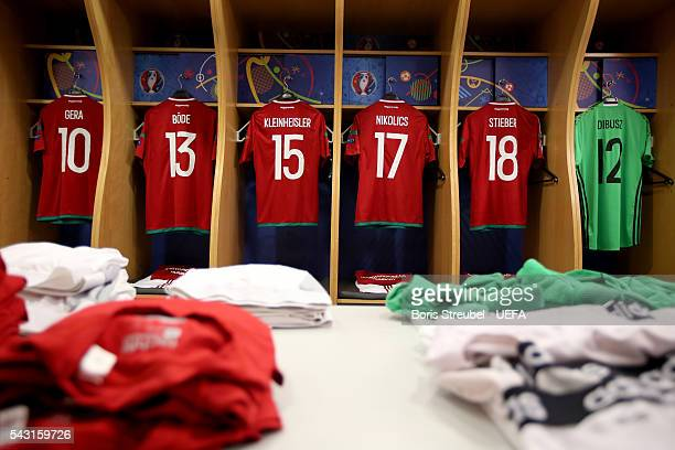 The shirts worn by Hungary players are hung in the dressing room the UEFA EURO 2016 round of 16 match bewtween Hungary and Belgium at Stadium...