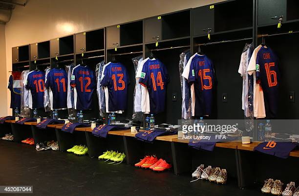 The shirts worn by players of the Netherlands hang in the dressing room prior to the 2014 FIFA World Cup Brazil 3rd Place Playoff match between...