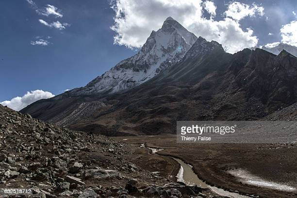 The Shivling peak culminating at 6543 meters stands over the Tapovan in the western Himalaya near the mouth of the Gamaukh Glacier the source of the...