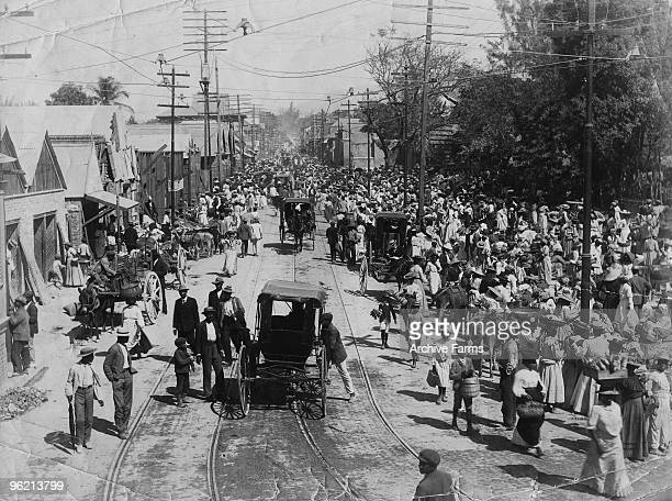 The shocked inhabitants of Kingston Jamaica gather at Market Square after an earthquake destroyed much of the city January 1907