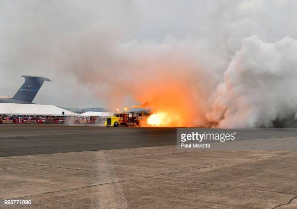 The Shockwave Jet Truck is seen at the 2018 Great New England Air and Space Show on July 14 2018 in Chicopee Massachusetts