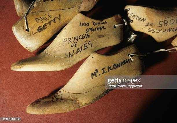 The shoe lasts of famous people, including John Paul Getty, Jackie Kennedy Onassis and Diana The Princess of Wales, at John Lobb, bespoke shoemakers...
