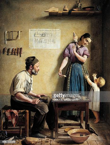 The shoemaker's family painting by Sidonio Centenari