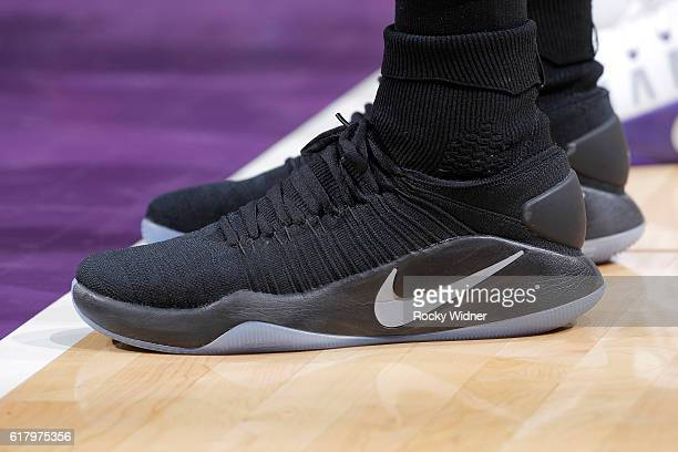 The shoes belonging to a player during the game between the LA Clippers and Sacramento Kings on October 18 2016 at Golden 1 Center in Sacramento...