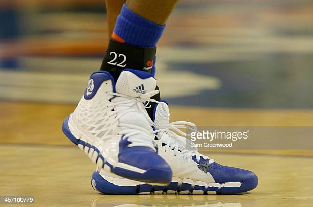 The shoes belonging to Andrew Wiggins of the Kansas Jayhawks during the game against the Florida Gators at Stephen C O'Connell Center on December 10...