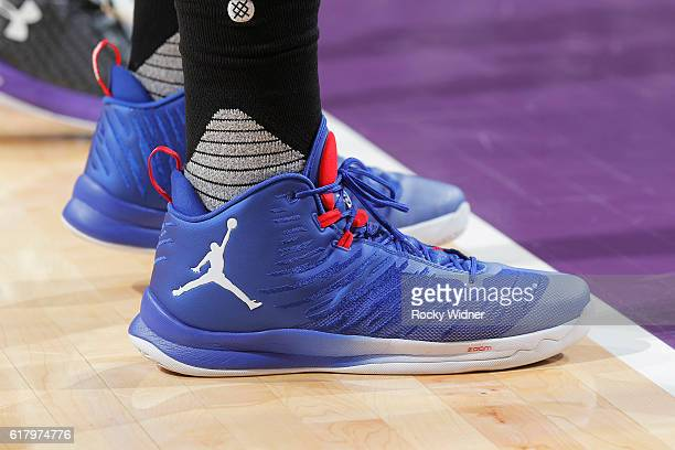 The shoes belonging to Blake Griffin of the LA Clippers in a game against the Sacramento Kings on October 18 2016 at Golden 1 Center in Sacramento...