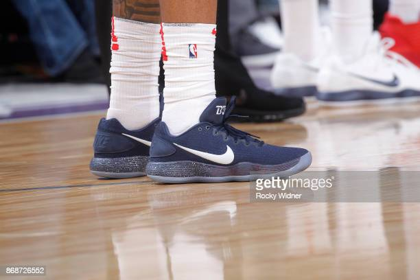 The shoes belonging to Bradley Beal of the Washington Wizards in a game against the Sacramento Kings on October 29 2017 at Golden 1 Center in...