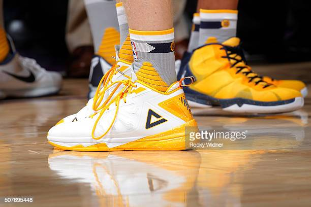 The shoes belonging to Chase Budinger of the Indiana Pacers in a game against the Sacramento Kings on January 23 2016 at Sleep Train Arena in...