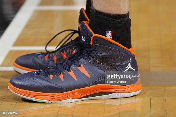 The shoes belonging to Cody Zeller of the Charlotte Bobcats in a game against the Sacramento Kings on January 4 2014 at Sleep Train Arena in...