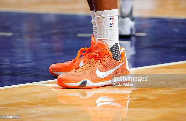 The shoes belonging to DaJuan Summers of the New York Knicks in a game against the Charlotte Hornets on October 17 2015 at Time Warner Cable Arena in...
