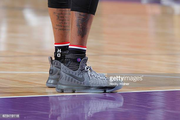 The shoes belonging to D'Angelo Russell of the Los Angeles Lakers in a game against the Sacramento Kings on November 10 2016 at Golden 1 Center in...