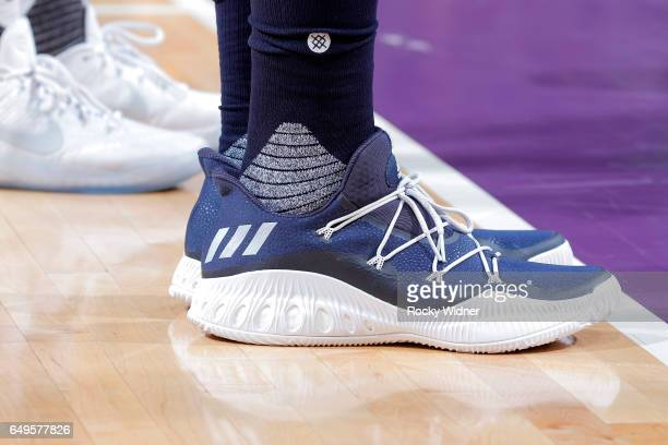 The shoes belonging to Derrick Favors of the Utah Jazz in a game against the Sacramento Kings on March 5 2017 at Golden 1 Center in Sacramento...