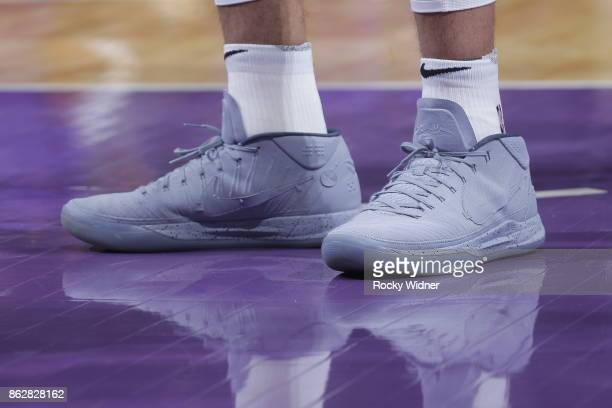 The shoes belonging to Derrick White of the San Antonio Spurs in a game against the Sacramento Kings on October 2 2017 at Golden 1 Center in...