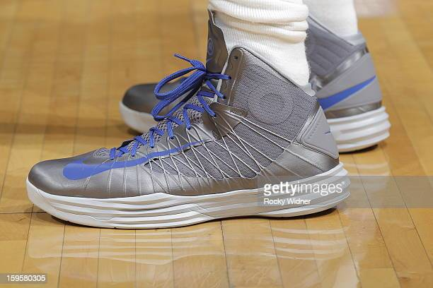 The shoes belonging to Dirk Nowitzki of the Dallas Mavericks in a game against the Sacramento Kings on January 10 2013 at Sleep Train Arena in...