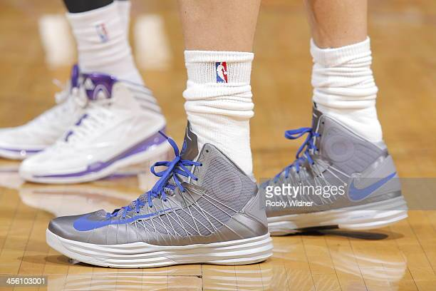 The shoes belonging to Dirk Nowitzki of the Dallas Mavericks in a game against the Sacramento Kings on December 9 2013 at Sleep Train Arena in...