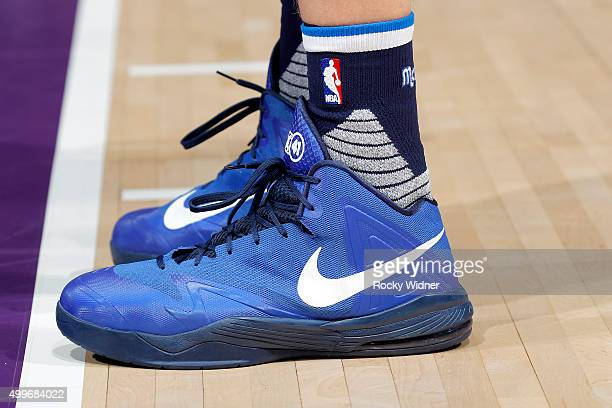 The shoes belonging to Dirk Nowitzki of the Dallas Mavericks in a game against the Sacramento Kings on November 30 2015 at Sleep Train Arena in...