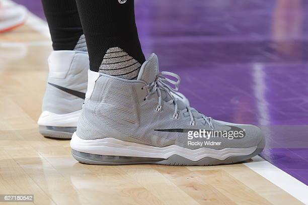 The shoes belonging to Enes Kanter of the Oklahoma City Thunder in a game against the Sacramento Kings on November 23 2016 at Golden 1 Center in...
