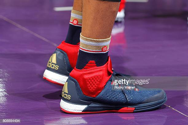 The shoes belonging to Eric Gordon of the New Orleans Pelicans in a game against the Sacramento Kings on January 13 2016 at Sleep Train Arena in...