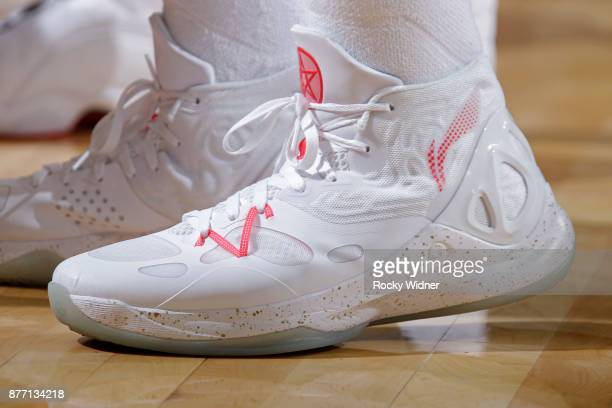 The shoes belonging to Evan Turner of the Portland Trail Blazers in a game against the Sacramento Kings on November 17 2017 at Golden 1 Center in...