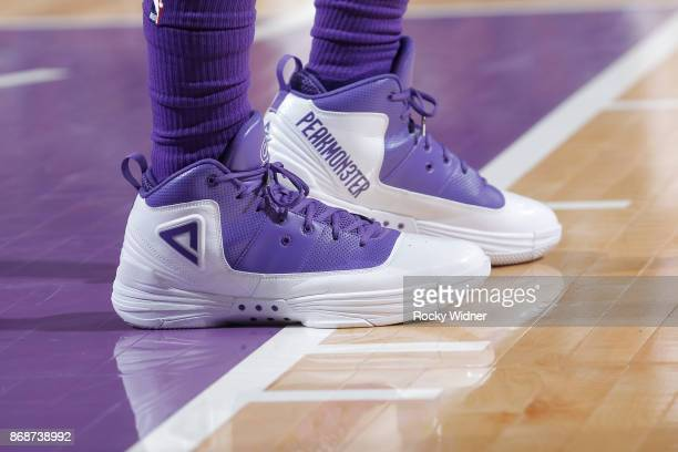 The shoes belonging to George Hill of the Sacramento Kings in a game against the New Orleans Pelicans on October 26 2017 at Golden 1 Center in...