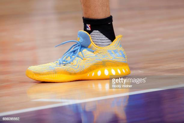 The shoes belonging to Jamal Murray of the Denver Nuggets in a game against the Sacramento Kings on March 11 2017 at Golden 1 Center in Sacramento...
