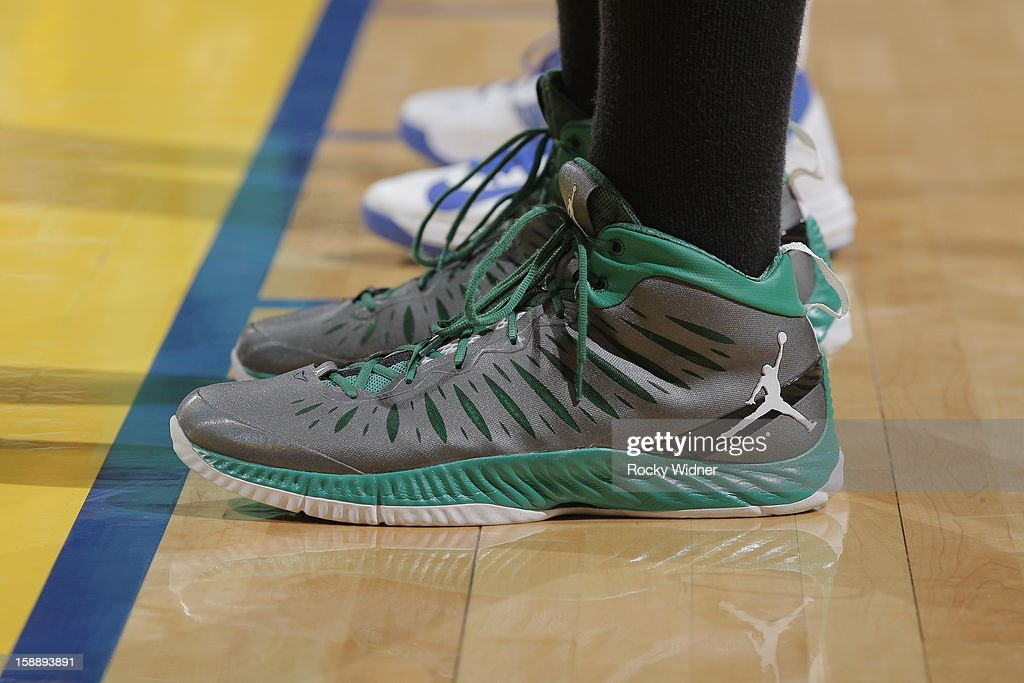 The shoes belonging to Jared Sullinger #7 of the Boston Celtics in a game against the Golden State Warriors on December 29, 2012 at Oracle Arena in Oakland, California.