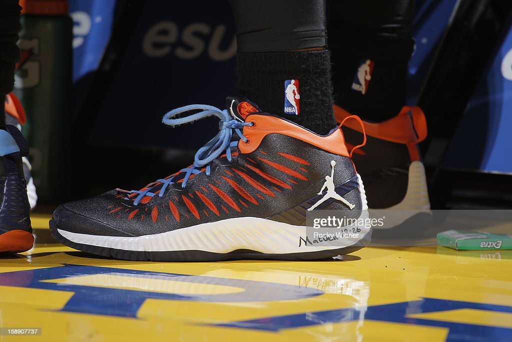 The shoes belonging to Jeff Taylor #44 of the Charlotte Bobcats in a game against the Golden State Warriors on December 21, 2012 at Oracle Arena in Oakland, California.