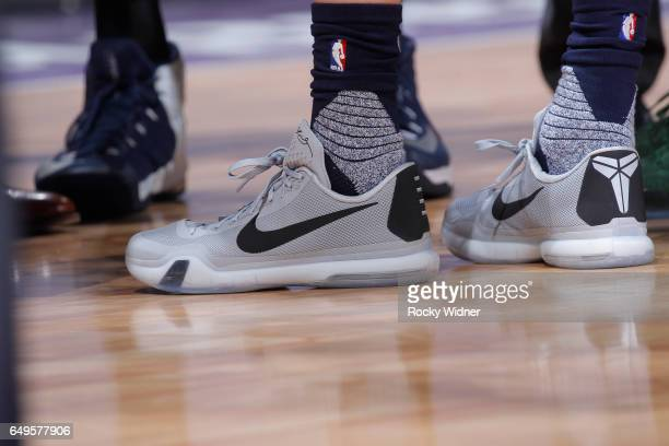 The shoes belonging to Joe Ingles of the Utah Jazz in a game against the Sacramento Kings on March 5 2017 at Golden 1 Center in Sacramento California...