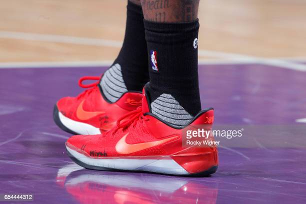 The shoes belonging to John Wall of the Washington Wizards in a game against the Sacramento Kings on March 10 2017 at Golden 1 Center in Sacramento...