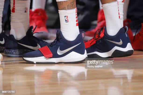 The shoes belonging to John Wall of the Washington Wizards in a game against the Sacramento Kings on October 29 2017 at Golden 1 Center in Sacramento...