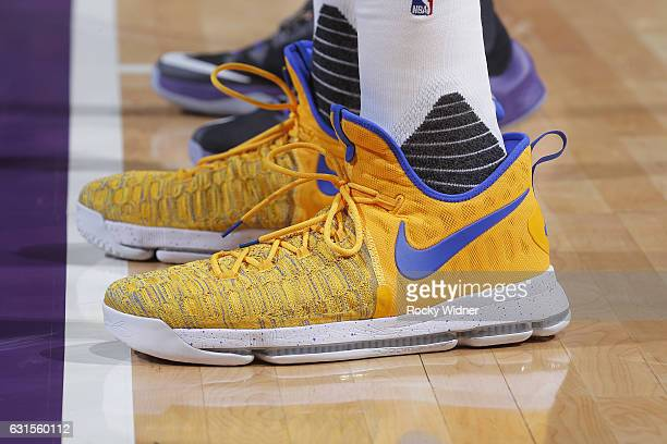 The shoes belonging to Kevin Durant of the Golden State Warriors in a game against the Sacramento Kings on Bollywood night on January 8 2017 at...
