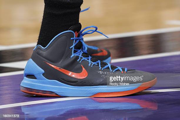 The shoes belonging to Kevin Durant of the Oklahoma City Thunder in a game against the Sacramento Kings on January 25 2013 at Sleep Train Arena in...