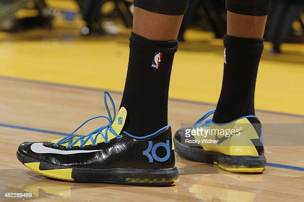 The shoes belonging to Kevin Durant of the Oklahoma City Thunder in a game against the Golden State Warriors on November 14 2013 at Oracle Arena in...