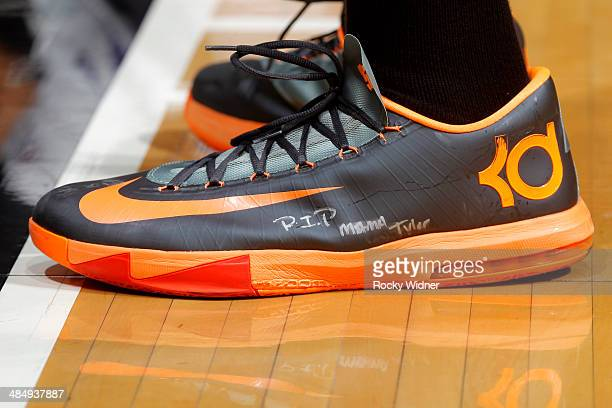 The shoes belonging to Kevin Durant of the Oklahoma City Thunder in a game against the Sacramento Kings on April 8 2014 at Sleep Train Arena in...