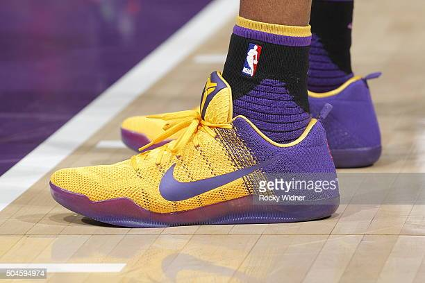 The shoes belonging to Kobe Bryant of the Los Angeles Lakers in a game against the Sacramento Kings on January 7 2016 at Sleep Train Arena in...