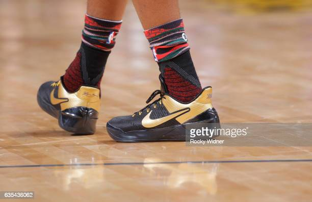 The shoes belonging to Langston Galloway of the New Orleans Pelicans in a game against the Sacramento Kings on February 12 2017 at Golden 1 Center in...