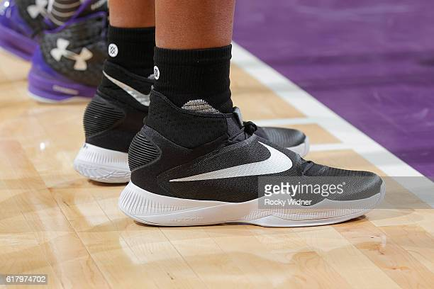 The shoes belonging to Marreese Speights of the LA Clippers in a game against the Sacramento Kings on October 18 2016 at Golden 1 Center in...