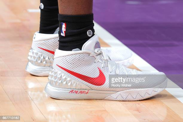 The shoes belonging to Montrezl Harrell of the Houston Rockets in a game against the Sacramento Kings on April 9 2017 at Golden 1 Center in...